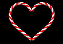 Two Classic Red And White Christmas Candy Cane In Shape Of Heart Isolated On Black Background. 3D Rendering And 3D Illustration.