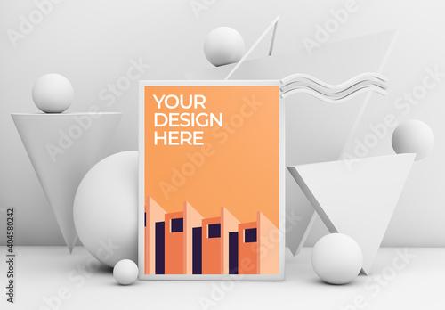 Obraz Frame Poster Mockup 3 with Geometric Shapes - fototapety do salonu