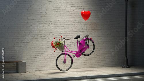 Obraz na plátne Liebe zum Valentinstag mit Ballon als Herz am Fahrrad