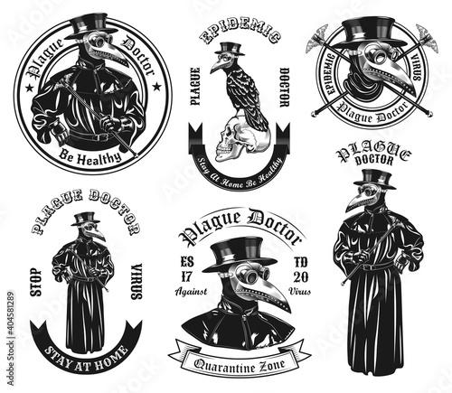 Canvas Print Monochrome plague doctor in costume vector illustration set