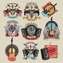 Colorful Rock Music Emblems Set. Bright Badges With Skulls, Guitars, Microphone, Subwoofer Speakers And Text. Vector Illustration Collection For Festival Poster, Rock And Roll Band Label Templates