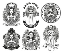 Vintage Badges With Pretty Angel Vector Illustration Set. Monochrome Female Character With Wings Praying. Trust And Religion Concept Can Be Used For Retro Template
