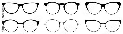 Cuadros en Lienzo Set of glasses silhouette