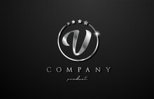 V Silver Metal Alphabet Letter Logo For Company And Corporate In Grey Color. Metallic Star Design With Circle. Can Be Used For A Luxury Brand