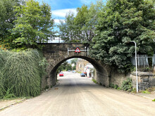 Looking Down, Barnard Road, With A Victorian Bridge, And Old Trees In, Bradford, Yorkshire, UK