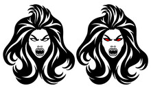 Vector Logo Illustration Of A Vampire Woman Character.