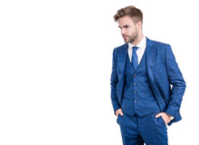 Gentlemens Outfitters Style For Dapper Gents. Manager In Suit Isolated On White. Gentlemens Tailor