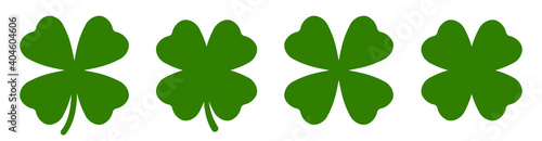 Fotografering Four leaf clover simple icon set vector