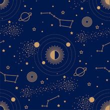 Seamless Pattern With Night Sky Map. Gold Planets Around The Sun Among Stars And Constellations On A Dark Blue Background. Retro Style Texture For Wrapping Paper, Fabric And Textile.