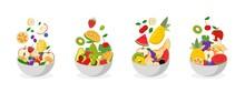 Fruit Bowls Concept Set Bundle Vector