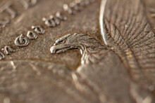 American Silver Dollar. US Coin 1902 Eagle's Head And Wings. Macro Photography. Numismatics.