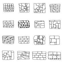 Stone Wall Masonry. Vector Sketches Set Vector
