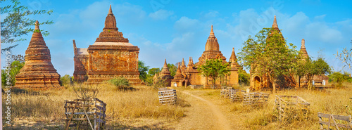 Panorama with ancient shrines, Bagan, Myanmar Fototapet