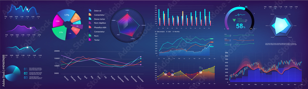 Fototapeta UI elements infographic, dashboard template with graph, charts and diagrams elements. Modern futuristic neon graphic infocharts. Dashboard mockup UI, UX, KIT. Graphics and infographics set. Vector