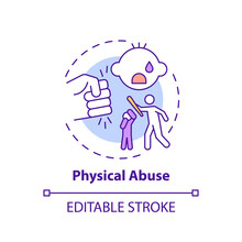 Physical Abuse Concept Icon. Parent Hit Kid. Physical Violence At Home. Harm To Children's Health. Child Safety Idea Thin Line Illustration. Vector Isolated Outline RGB Color Drawing. Editable Stroke
