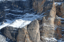 Detail Of The Rocky Wall Of The Sasso Della Croce In Alta Badia. Dolomites, South Tyrol In Italy.