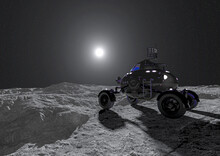 Lunar Roving Vehicle Is Passing By The Moon