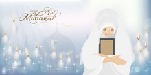 Eid Mubarak With Mosque Silhouette With Female Muslim Prayer Praying To God,Muslim Woman With The Holy Quran For Eid Mubarak Happy Life Ramadan Or Ramazan Kareem.Eid Ul Fitr Or Ul Adha. Islam Religion