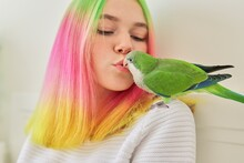 Teenager Girl Kissing A Parrot. Close-up Face Of Woman And Green Quaker Parrot
