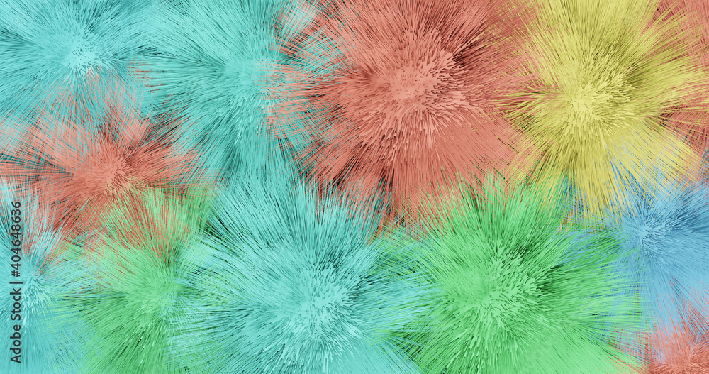Fototapeta Render with multi-colored balls with long hair