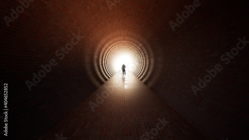 Obraz Concept or conceptual dark tunnel with a bright light at the end or exit as metaphor to success, faith, future or hope, a black silhouette of walking man to new opportunity or freedom 3d illustration - fototapety do salonu