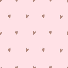 Seamless Pattern With Cartoon Hearts On A Soft Pink Background For Valentine's Day. Vector Illustration In Cute In A Simple Children's Flat Style For Printing Onto Fabric, Printing, Wallpaper.