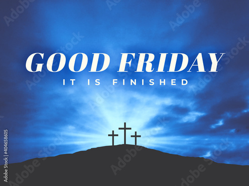 Photo Good Friday - It Is Finished Typography Holiday Text Over Dark Blue Clouds in Sk