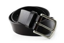 Close-up Of Leather Belt On White Background