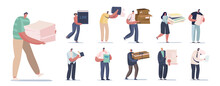 Set Of People With Different Papers. Male And Female Characters Holding Pile Of Waste Paper, Carton Boxes And Books