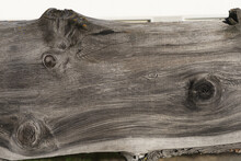 Background: Old Weathered Trunk Tree Plank, Wood Texture With Figure And Knothole, Brown And Silver Gray