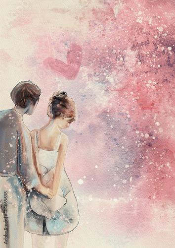Obraz Couple. Love concept. Watercolor background - fototapety do salonu