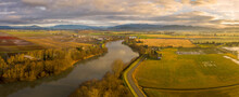 Washington State's Great Skagit Valley. The Skagit River Runs From High In The Cascade Mountains To Puget Sound. The Skagit Floodplain Is One Of The Richest Agricultural Areas In The World.