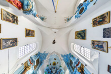 Interior And Dome And Looking Up Into A Old Catholic Baroque Church Ceiling