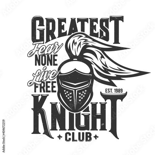 Fototapeta Tshirt print with knight head vector mascot