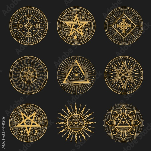 Obraz Occult signs, occultism, alchemy and astrology symbols. Vector sacred religion mystic emblems magic eye, masonry pyramid, egyptian ankh cross, sun or moon with rays, pentagrams esoteric icons set - fototapety do salonu