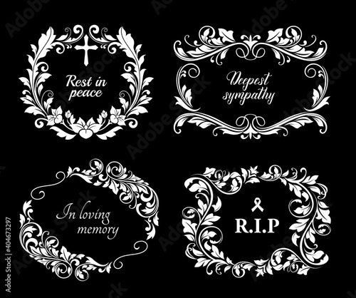 Fotografie, Obraz Funeral vector cards with flourish wreaths, crosses, ribbon and obsequial typography
