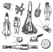 Galaxy Explore Monochrome Vector Icons. Universe Expedition. Astronaut, Space Shuttle And Satellites With Rover. Moon With Craters, Spaceship And International Station. Cosmos Explore Isolated Labels