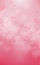 Red And Pink Bokeh Background For Valentine's Day - Vector