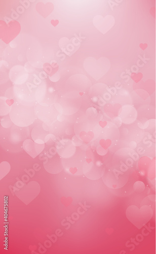 Slika na platnu Red and pink bokeh background for Valentine's Day - Vector