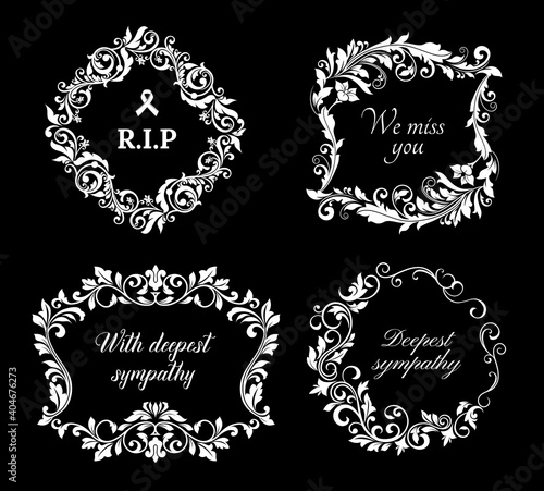 Obraz na plátně Funeral vector frames, isolated wreaths of floral design with blossoms and leaves