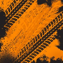 Offroad Grunge Tyre Prints, Vector Grungy Orange Abstract Pattern On Black Background. Auto Rally Or Motocross Dirty Tires Print, Off Road Trails Texture For Racing Tournament Or Garage Service Design