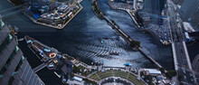 High Angle View Of Boats In City