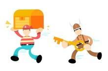 Pirate Sailor And Gold Chest Run From Barbarian Viking Cartoon Doodle Flat Design Style Vector Illustration