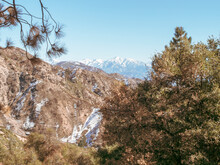 Panorama Of Snow Capped Angeles National Forest