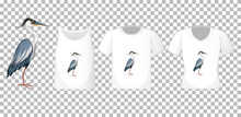 Set Of Different Shirts With Great Blue Heron Cartoon Character Isolated On Transparent Background