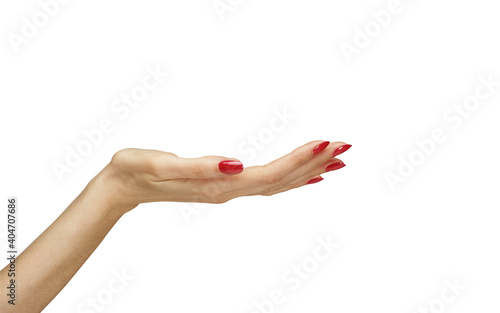 Obraz na plátně Cropped Hand Of Woman With Red Painted Nails Over White Background
