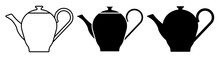 Icon Silhouette Of Teapot For Tea Drinking. Breakfast Utensils. Black And White Vector