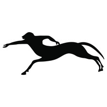 Silhouette Of A Running Ancient Greek Centaur. Vase Painting Mythological Motif. Black Silhouette On White Background.
