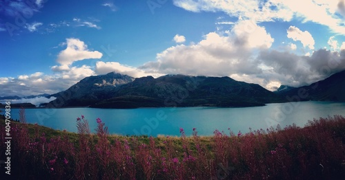 Scenic View Of Lake By Mountains Against Sky Fototapeta
