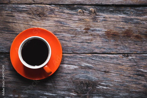 Obraz Directly Above Shot Of Black Coffee On Table - fototapety do salonu